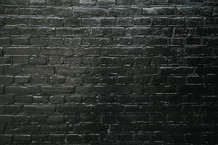 Black brick wall texture for design