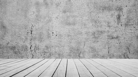 Cement wall and wooden floor background texture