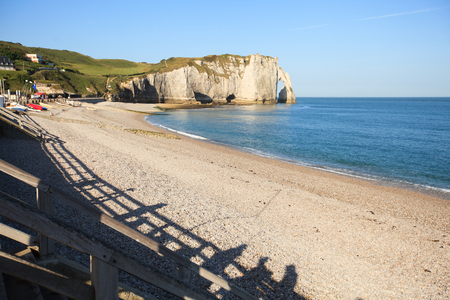 Etretat view of the beautiful coastline and alabaster cliffs Stock Photo