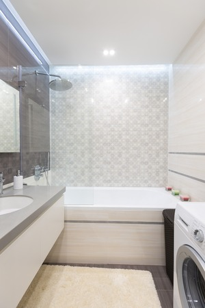 Modern bathroom with shower and a sink