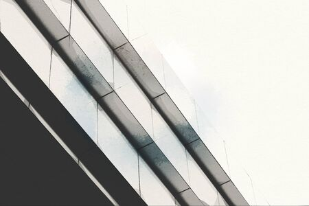 Wide angle abstract background view of steel light blue high rise commercial building skyscraper sketch