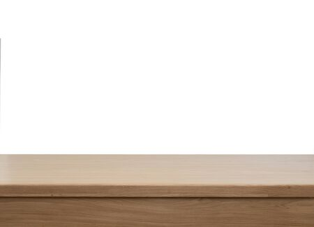 Empty wooden table background for food or product placement or montage. Isolated table