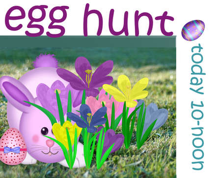 announcing: Poster announcing Easter egg hunt Stock Photo