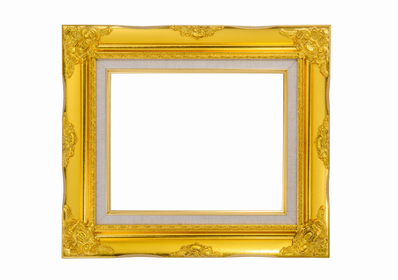 old mirror: The gold frame on the white background