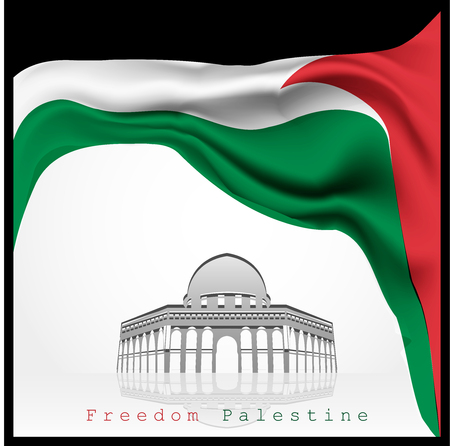 palestine waving flag vector with aqsa mosque illustration