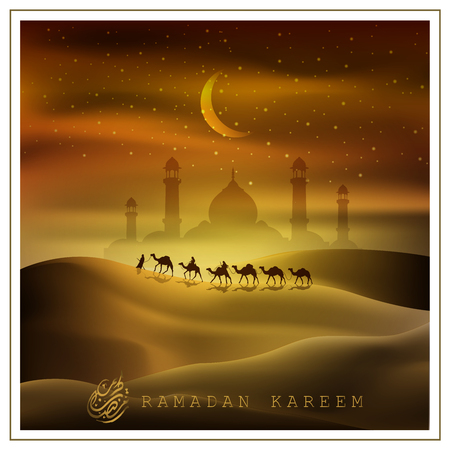 Ramadan Kareem with  beautiful Arabic calligraphy and Arabian land by riding on camels at night accompanied by sparkles of stars, mosque for illustrative Islamic background and  greeting card