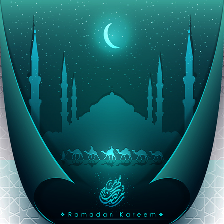 Ramadan Kareem greeting background islamic crescent and star with folding paper - Translation of text : Ramadan Kareem - May Generosity Bless you during the holy month - Vector