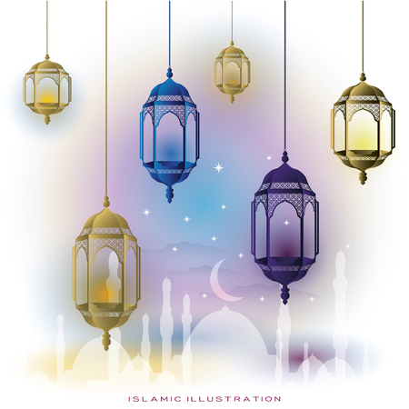 islamic illustration of glowing lanterns with mosque, moon for background, banner