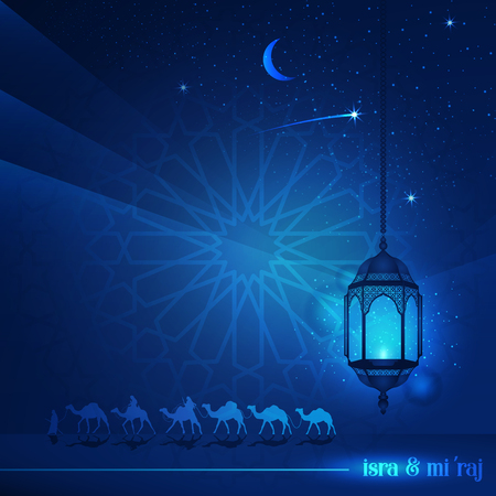 Ramadan Kareem avec une belle typographie et une terre arabe en montant à dos de chameau la nuit accompagné d'étincelles d'étoiles et de lanternes pour un arrière-plan islamique illustratif et une carte de voeux