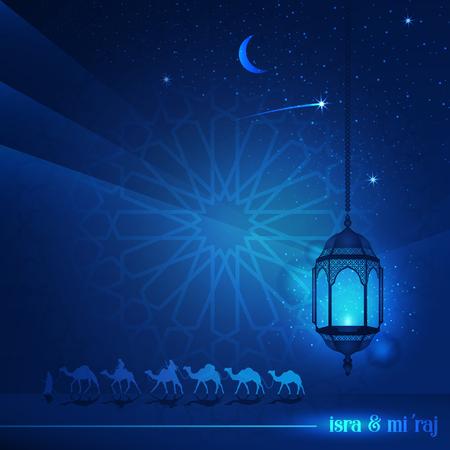 Ramadan Kareem met prachtige typografie en Arabisch land door 's nachts op kamelen te rijden, vergezeld van schitteringen van sterren en lantaarn voor illustratieve islamitische achtergrond en wenskaart