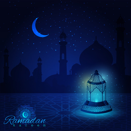 Ramadan Kareem islamic greeting background with beatiful islamic pattern, lanterns and arabic calligraphy  - Translation of text : Ramadan Kareem - May Generosity Bless you during the holy month