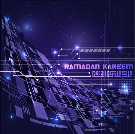 Ramadan Kareem beautiful greeting line technology with arabic calligraphy for banner, background and islamic illustration. translation of text : May Generosity Bless you during the holy month