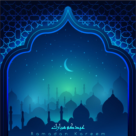 Ramadan Kareem with Arabic calligraphy & mosques at night accompanied by sparkles of stars & moon for illustrative Islamic background &  greeting card. translation of text : blessed festival