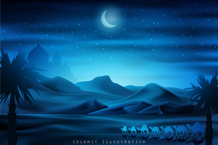 Arabian land by riding on camels at night accompanied by sparkles of stars, mosques, lanterns for illustrative Islamic background