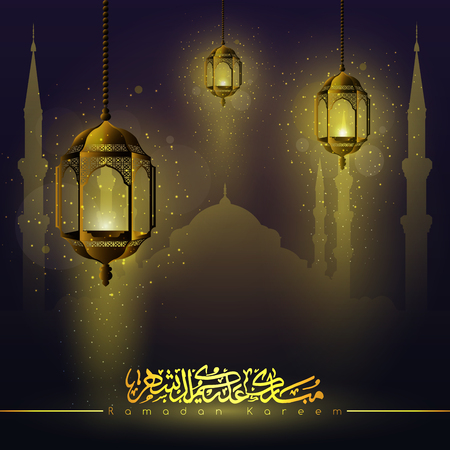 Ramadan Kareem beautiful glowing arabic lanterns star, islamic crescent, mosque and arabic calligraphy - Translation of text : Ramadan Kareem - May Generosity Bless you during the holy month and Blessed Festival 向量圖像