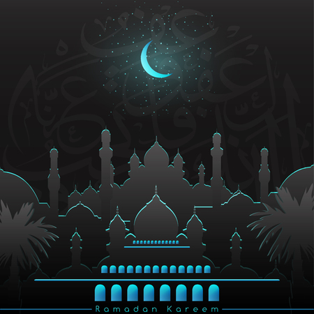 Ramadan Kareem greeting background with beautiful mosque, stars and glowing moon  - Translation of text : Ramadan Kareem - Blassed Festival