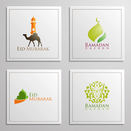 Ramadan Kareem and Eid Mubarak set of emblems beautiful typography, dome, mosque, moon and arabian traveller on camels for islamic icon greeting banner design. translation of text : Blessed Festival