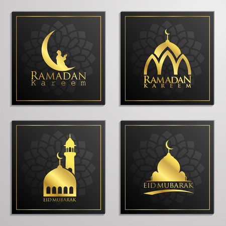 Ramadan Kareem and Eid Mubarak set of emblems beautiful typography, dome, mosque, moon and arabian prayer for islamic icon greeting banner design. translation of text : Blessed Festival Illustration
