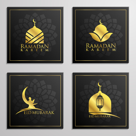 Ramadan Kareem and Eid Mubarak set of emblems beautiful typography, dome, mosque, moon and arabian prayer for islamic icon greeting banner design