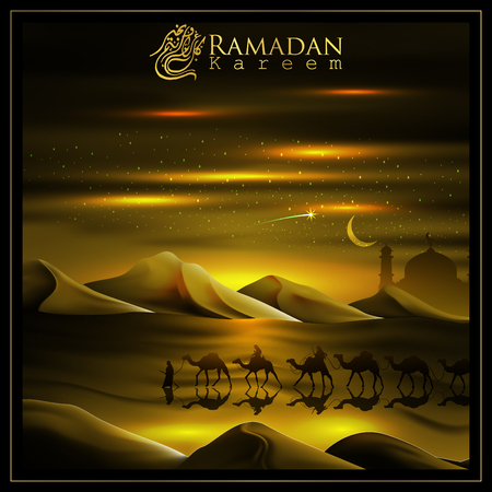 Ramadan Kareem with  beautiful Arabic calligraphy and Arabian land by riding on camels accompanied by sparkles of stars, mosque. Translation of text : May Generosity Bless you during the holy month 向量圖像