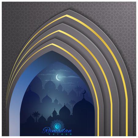 Ramadan Kareem greeting card template night illustration arabian and mosque illustration islamic background - Vector