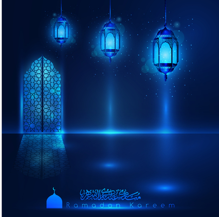 Ramadan Kareem mosque window with arabic pattern & lanterns for islamic greeting vector background. Translation of text : Ramadan Kareem - May Generosity Bless you during the holy
