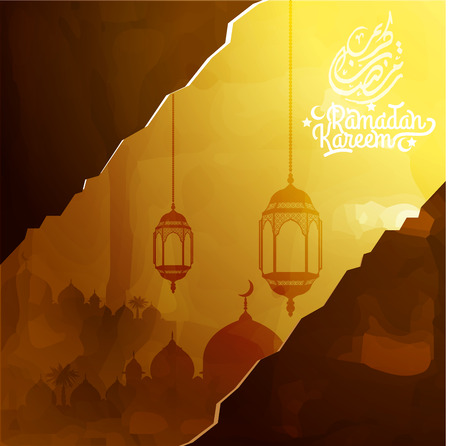 Ramadan Kareem greeting background mosque watercolor sketch with beautiful arabic calligraphy. Translation of text : Ramadan Kareem : May Generosity Bless you during the holy month.