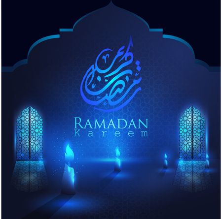 Ramadan Kareem glowing mosque doors with arabic pattern & lanterns for islamic greeting vector background. Translation of text : Ramadan Kareem- May Generosity Bless you during the holy month -Vector 向量圖像