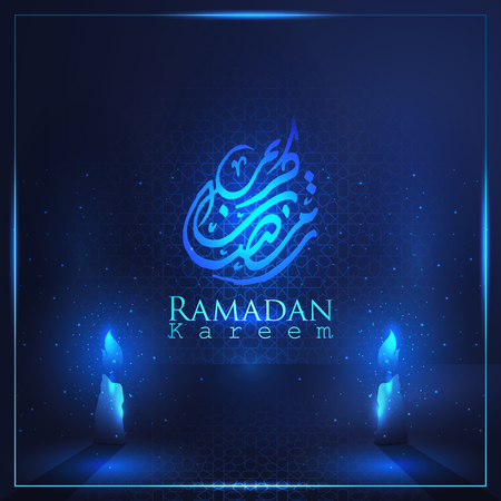 Ramadan Kareem beautiful arabic calligraphy with arabic pattern  for islamic greeting vector background. Translation of text : Ramadan Kareem - May Generosity Bless you during the holy month - Vector