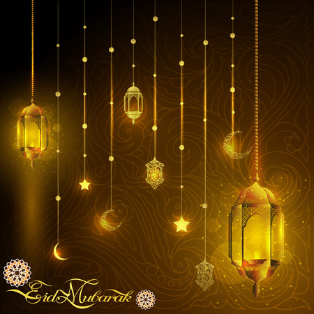 Eid Mubarak greeting card glowing gold arabic lamp and islamic star crescent with beautiful line pattern and arabic calligraphy. translation of text : Blessed Festival