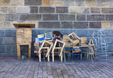 stuff: Old wooden furniture on pile Stock Photo