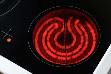 Spiral electric hob, heated to a high temperature Stock Photo