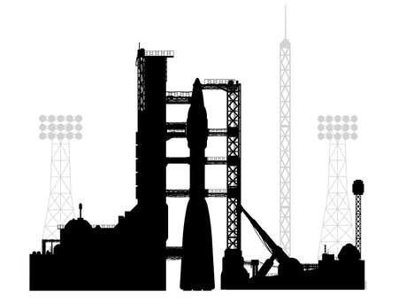 The launch pad for launching a carrier rocket. Vector drawing of a cosmodrome in a silhouette style. Vettoriali