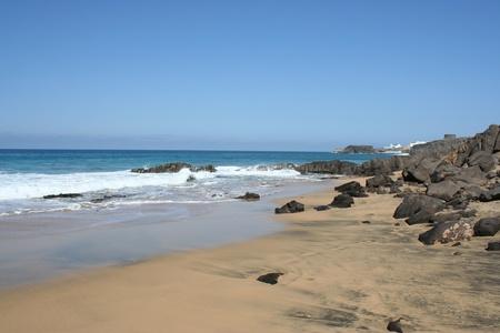 View of Fuerteventura Volcanic Coast ( Canary Islands, Spain ) Stock Photo