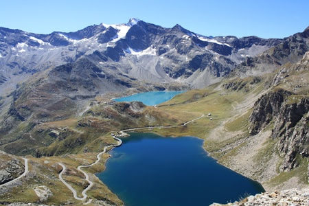 View of Gran Paradiso National Park photographed by col Nivolet   Italy   Stock Photo