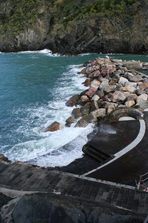 vernazza: View of Vernazza Harbor, Liguria, Italy