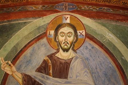 Fresco of Sant Eldrado Chapel  Novalesa Abbey Italy  photo