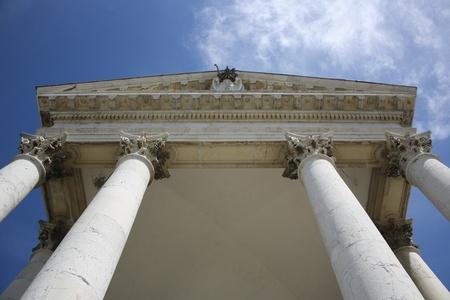 christian worship: A view of columns of Superga basilica  Turin, Italy