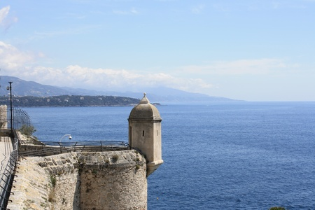 Picture of a tower of the Montecarlo fortress, on the southern French coast