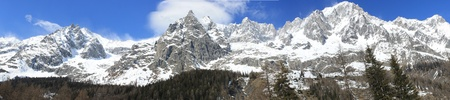 Panoramic View of Monte Bianco mountains   Courmayer Aosta Valley
