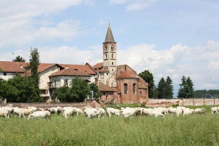View of Staffarda Abbey   Piemonte Italy   Stock Photo