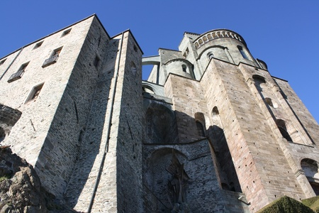 impervious: View of San Michele Abbey, called Sacra di San Michele  Val Di Susa Piemonte Italy