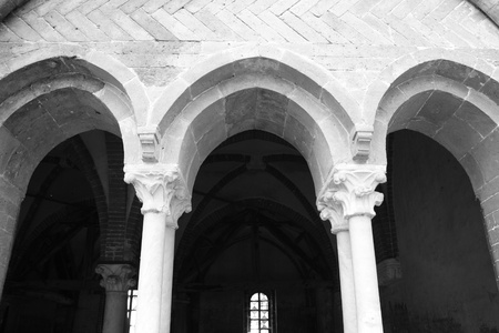 impervious: Black And White picture of Staffarda Abbey, Piemonte,Italy  Stock Photo