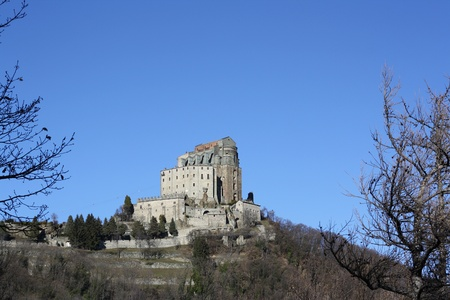 View of San Michele Abbey, called Sacra di San Michele  Val Di Susa Piemonte Italy  photo
