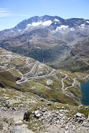 road surface: The Road to the Peak of col Nivolet  Gran Paradiso National Park Italy  Stock Photo