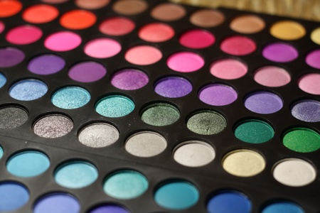 Colored make-up palette close-up photo