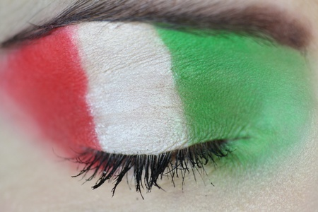 Girl with Italian Flag Painted on her Eye photo