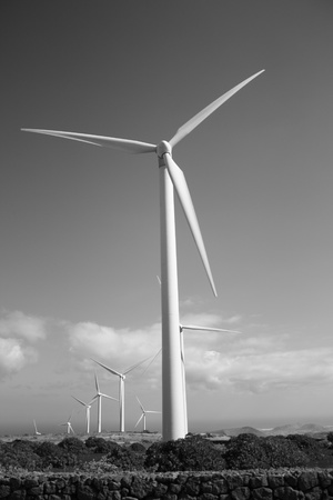 Wind turbine with black and white background  Lanzarote Canary Islands
