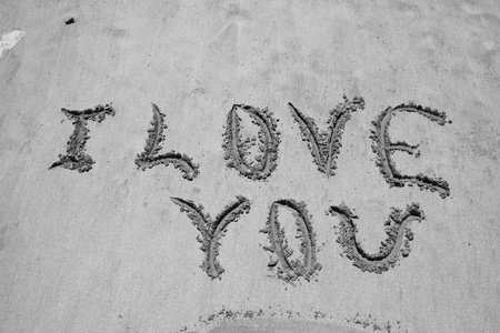 I love You written on the sand Stock Photo - 15694814