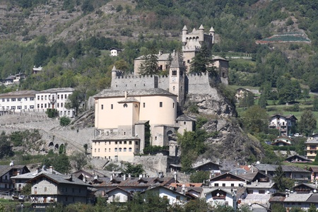 impervious: View of Saint-Pierre Castle   Aosta Valley Italy